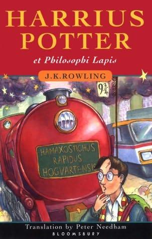 Omslagsbildet til den latinske utgaven av Harry Potter og de vises sten: Harrius Potter et philosophī lapis.