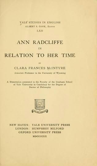 book cover of Ann Radcliffe in Relation to Her Time